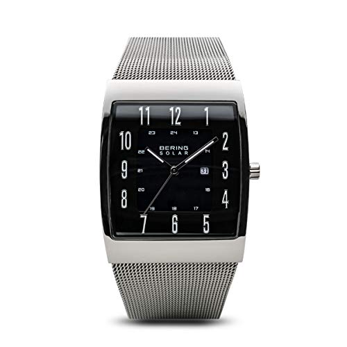 bering time solar collection slim watch with mesh strap and scratch