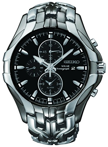seiko mens ssc excelsior gunmetal and silver tone stainless steel solar