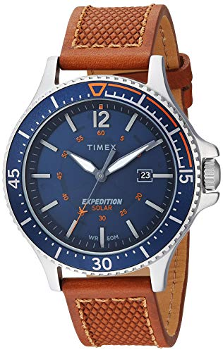 timex mens twb expedition ranger solar tanblueorange accent leather